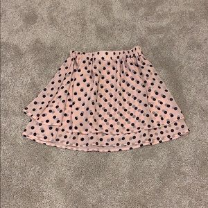 Juniors polka dot layered mini skirt